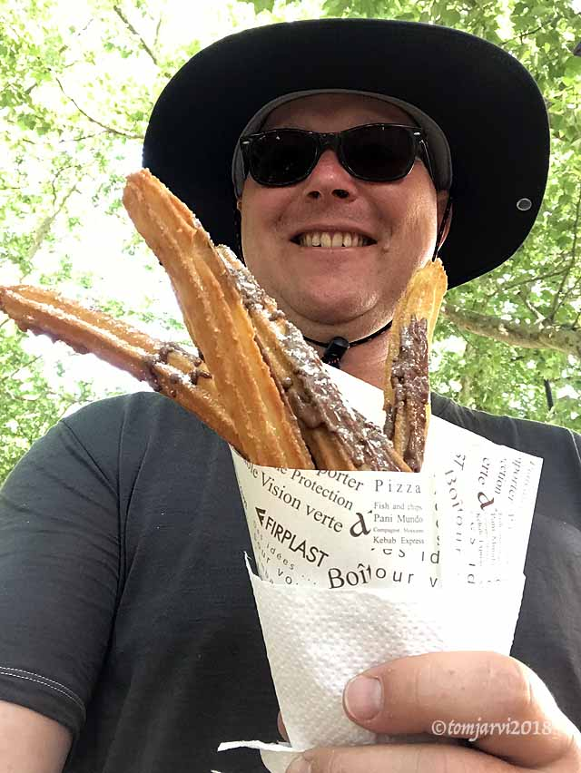 Happy with churros
